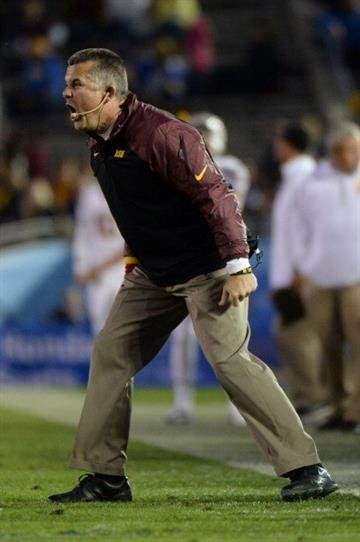PASADENA, CA - NOVEMBER 23:  Head coach Todd Graham of the Arizona State Sun Devils reacts to a play during the game against the UCLA Bruins at Rose Bowl on November 23, 2013 in Pasadena, California.  (Photo by Harry How/Getty Images) By Harry How