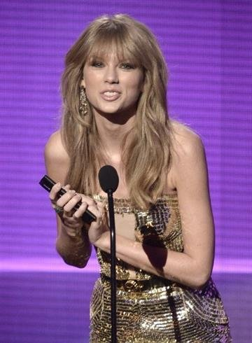 LOS ANGELES, CA - NOVEMBER 24:  Singer Taylor Swift speaks onstage during the 2013 American Music Awards at Nokia Theatre L.A. Live on November 24, 2013 in Los Angeles, California.  (Photo by Kevin Winter/Getty Images) By Kevin Winter