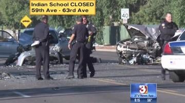 Several people were injured in a head-on collision on Indian School Road near 61st Avenue. By Jennifer Thomas