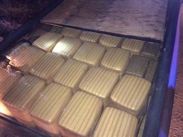 Marijuana bundles in the bed of the truck as seen from above. By Jennifer Thomas