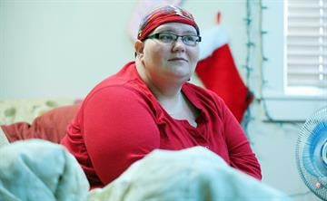 Natasha Leatherman, an 18-month resident of the Prescott Women's Shelter, has been there for a longer than normal time while she gets treatment for acute lymphoblastic leukemia. By Mike Gertzman