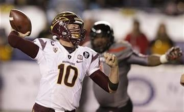 Arizona State quarterback Taylor Kelly (10) throws a pass while playing Texas Tech in the second half during the Holiday Bowl NCAA college football game Monday, Dec. 30, 2013, in San Diego. (AP Photo/Gregory Bull) By Catherine Holland