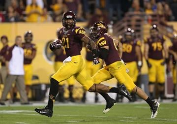 Jaelen Strong (left) and DJ Foster will be back to lead the ASU offense in 2014. By Christian Petersen