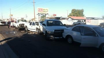 Chain-reaction crash at McDowell Road and 29th Avenue in Phoenix By Jennifer Thomas