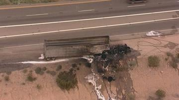 A semitruck caught fire on northbound state Route 85 at the Interstate 10 transition. By Jennifer Thomas