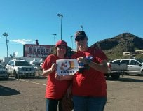 My sister and I at the Saturday 3.8.14 Spring Training Angels vs Diamondbacks By Catherine Holland