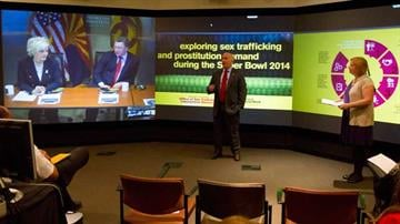 Phoenix Police Lt. James Gallagher and researcher Dominique Roe-Sepowitz present findings on the correlation between the Super Bowl and sex trafficking. By Mike Gertzman