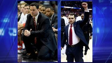 Sean Miller (left) coaches Arizona. Younger brother Archie Miller (right) coaches Dayton. By Catherine Holland