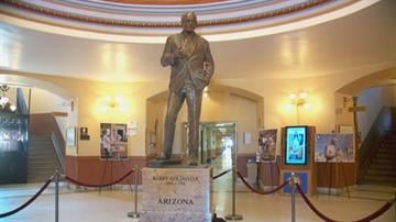 An 8-foot-tall bronze statue of late U.S. Sen. Barry M. Goldwater unveiled Monday will be displayed at the State Capitol before heading to Washington later this year to represent Arizona at the U.S. Capitol. By Mike Gertzman