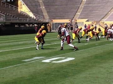 Wadood lines up opposite star WR Jaelen Strong during Saturday's scrimmage. By Brad Denny