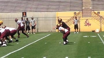 Brimhall lines up for a play during last Saturday's scrimmage By Brad Denny
