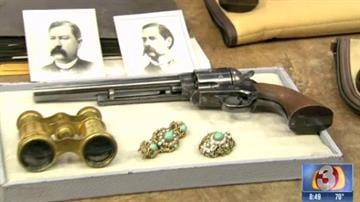 A Colt .45-caliber revolver believed to be carried by Wyatt Earp during the shootout at the O.K. Corral in Tombstone is among many historic Earp family items that will be on the auction block this week. By Catherine Holland