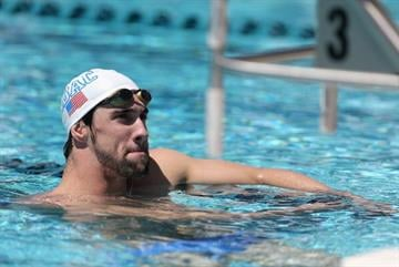 MESA, AZ - APRIL 23:  Michael Phelps rests as he practices for the Arena Grand Prix at the Skyline Aquatic Center on April 23, 2014 in Mesa, Arizona.  (Photo by Christian Petersen/Getty Images) By Christian Petersen