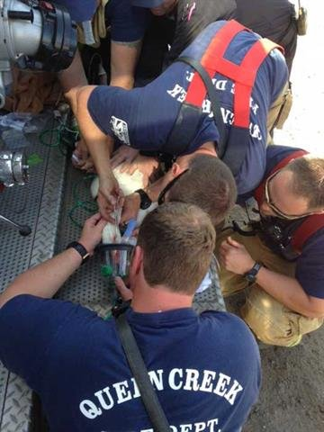 Firefighters from the Queen Creek Fire Department gave the goose oxygen. By Jennifer Thomas