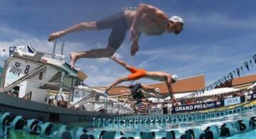 MESA, AZ - APRIL 25: Michael Phelps competes in the Men's 50m Freestyle prelim during day two of the Arena Grand Prix at the Skyline Aquatic Center on April 25, 2014 in Mesa, Arizona. (Photo by Christian Petersen/Getty Images) By Jennifer Thomas