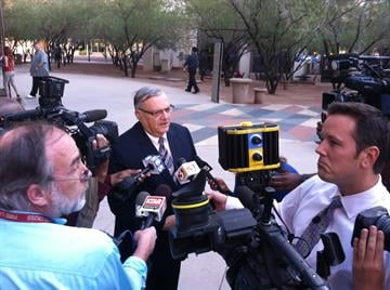 Maricopa County Sheriff Joe Arpaio arrives  at the Phoenix Municipal Courthouse for Mickey the pit bull's final hearing. By Catherine Holland