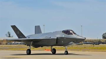 An F-35 Lightning II taxies towards the runway during a training sortie at Luke Air Force Base, Ariz., May 6, 2014. The jet, assigned to the 61st Fighter Squadron, flew the first local F-35 training sortie at Luke on May 5, 2014. By Mike Gertzman