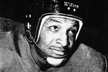 14) The First Helmets: The first helmets worn in program history were these black leather helmets in the early 1950s. Who needs a facemask? These were worn until 1954. By Brad Denny
