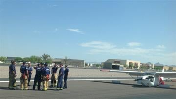 A pilot had to make a belly landing at Scottsdale Airport. By Jennifer Thomas