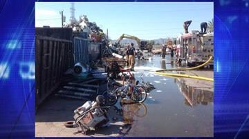 A fire broke out at a large scrap metal yard in the area of 29th Avenue and Lincoln Street. By Jennifer Thomas