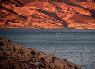 LAKE MEAD, NRA, NV - JULY 17:  Boats sail on Lake Mead on July 17, 2014 in the Lake Mead National Recreation Area, Nevada.  (Photo by Ethan Miller/Getty Images) By Ethan Miller