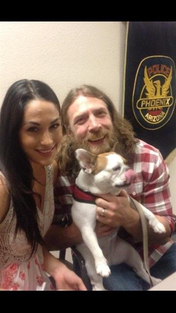 """Bryan Danielson & Bri at Phoenix Police headquarters to discuss how he caught a burglar using the infamous """"Yes lock"""" WWE Champ By Mike Gertzman"""
