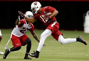 Arizona Cardinals' Michael Floyd, right, makes a catch in front of Tony Jefferson during the first day of NFL football training camp on Saturday, July 26, 2014, in Glendale, Ariz. (AP Photo/Ross D. Franklin) By Ross D. Franklin
