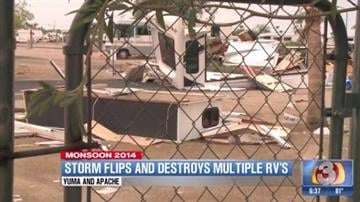 BUCKEYE, Ariz. -- At least two people were injured Thursday night when strong winds toppled multiple RVs in Buckeye, according to the Buckeye Fire Department. By Catherine Holland