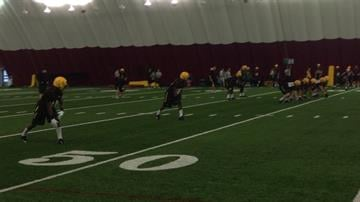 The new wide receivers at practice: Lauderdale (left), Whiley (slot), and Harvey (far right) By Brad Denny