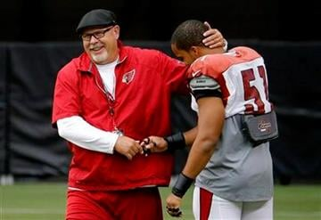 Arizona Cardinals head coach Bruce Arians, left, greets Kevin Minter (51) during an NFL football training camp, Monday, July 28, 2014, in Glendale, Ariz. (AP Photo/Matt York) By Matt York