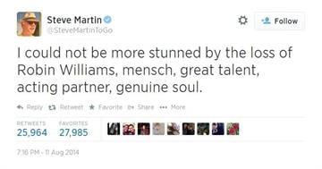 Steve Martin mourns the loss of actor Robin Williams. By Sesame Street