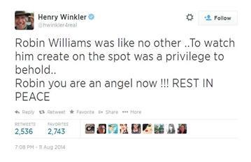 Henry Wrinkler mourns the loss of actor Robin Williams. By Henry Wrinkler