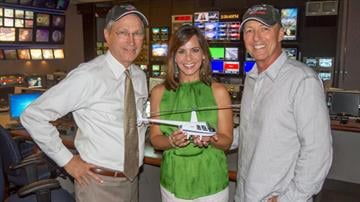 Bruce Haffner (right), pictured with his wife Lisa Haffner (center) and President and General Manager of 3TV and CBS 5 Ed Munson (left), will be back on local television starting Oct.1. By Catherine Holland