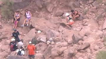 Two women had to be rescued from Camelback Mountain on Monday afternoon. One woman had a dislocated shoulder. The other woman had an injured ankle. By Mike Gertzman
