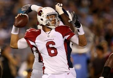 SAN DIEGO, CA - AUGUST 28:  Quarterback Logan Thomas #6 of the Arizona Cardinals throws a pass against the San Diego Chargers at Qualcomm Stadium on August 28, 2014 in San Diego, California.  (Photo by Stephen Dunn/Getty Images) By Stephen Dunn