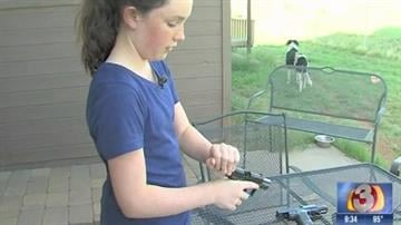 Aubrey Cain's father has been teaching her gun safety. By Jennifer Thomas