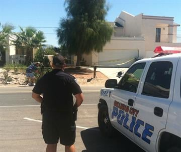 Bullhead City police outside the home of missing 8-year-old Isabella Grogan-Cannella By Jennifer Thomas