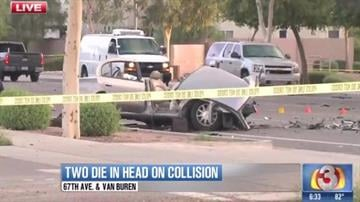 """Two people are dead and a third is in critical condition after a """"dine and dash"""" incident led to a high-speed police chase that ended in a head-on crash. By Catherine Holland"""