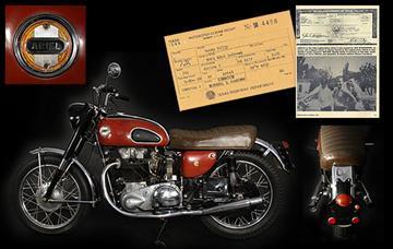 Lot 235. Buddy Holly & Waylon Jennings' 1958 Ariel Cyclone motorcycle By Mike Gertzman