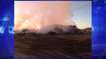 A hay fire near Hawes and Elliot roads in Mesa continues to burn. By Jennifer Thomas
