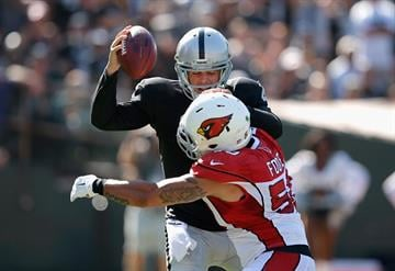 OAKLAND, CA - OCTOBER 19:  Derek Carr #4 of the Oakland Raiders is sacked by Larry Foote #50 of the Arizona Cardinals in the first half at O.co Coliseum on October 19, 2014 in Oakland, California.  (Photo by Ezra Shaw/Getty Images) By Ezra Shaw