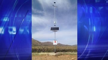 A rescue beacon placed in the desert west of Tucson by U.S. Border Patrol. By Christina O'Haver