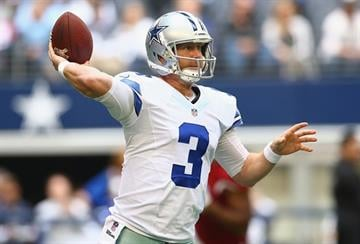 ARLINGTON, TX - NOVEMBER 02:   Brandon Weeden #3 of the Dallas Cowboys throws against the Arizona Cardinals in the first quarter at AT&T Stadium on November 2, 2014 in Arlington, Texas.  (Photo by Ronald Martinez/Getty Images) By Ronald Martinez