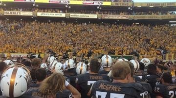 ASU players thank the student section after beating Notre Dame 55-31. By Brad Denny