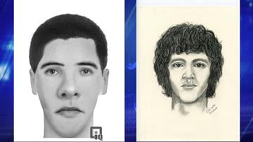 Computer-generated composite (left) and hand-drawn composite of suspect By Christina O'Haver