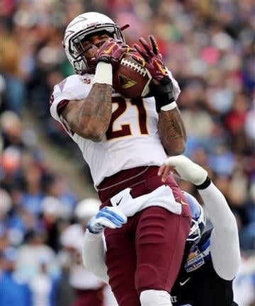 Arizona State's Jaelen Strong, top,  makes a catch on a long pass against Duke during the first quarter of the Sun Bowl NCAA college football game, Saturday, Dec. 27, 2014, in El Paso, Texas. (AP Photo/Victor Calzada) By Victor Calzada