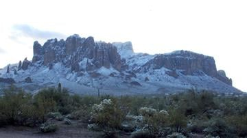Superstition Mountains in the snow By Jennifer Thomas