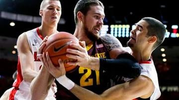 Arizona State forward Eric Jacobsen (21) battles with Arizona guard Gabe York (1), right and Kaleb Tarczewski (35) during the first half of an NCAA college basketball game, Sunday, Jan. 4, 2015, in Tucson, Ariz. By Mike Gertzman