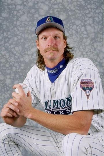 28 Feb 1999: Pitcher Randy Johnson #51 of the Arizona Diamonbacks poses for a studio portrait on Photo Day during Spring Training at the Tucson Electric Stadium in Tucson, Arizona. Mandatory Credit: Todd Warshaw  /Allsport By Todd Warshaw