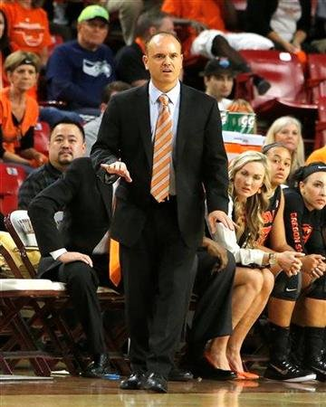 Oregon State head coach Scott Rueck reacts to his team during the first half of an NCAA college basketball game against Arizona State, Sunday, Jan. 25, 2015, in Tempe, Ariz. (AP Photo/Rick Scuteri) By Rick Scuteri